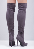 Over the Knee Thigh High Faux Suede Pointed Stiletto Long Boots Grey