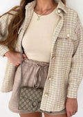 Oversized Tweed Plaid Shacket Shirt Jacket Beige