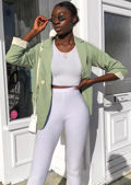 Oversized Boyfriend Boxy Blazer Avocado Green