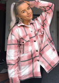 Oversized Brushed Checked Utility Shirt Jacket Pink