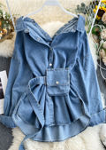 Oversized Button Through Bag Belted Denim Shirt Jacket Blue