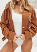 Oversized Cropped Corduroy Belted Biker Jacket Brown