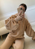 Oversized Longline Hoodie And High Waisted Jogger Co-Ord Set Beige