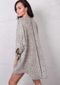 Oversized Dip Hem Knitted Jumper Dress Beige