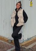 Oversized Double Drawstring Panelled Puffer Gilet Jacket Beige