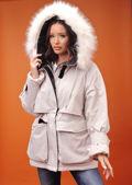 Oversized Faux Fur Hooded Velcro Fastening Parka Coat Beige