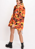 Oversized Hooded Parka Coat Camo Orange