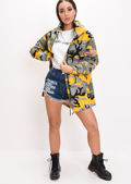 Oversized Hooded Parka Coat Camo Yellow