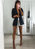Oversized Pinstripe Gathered Sleeve Longline Blazer Black