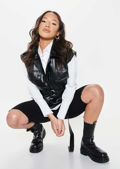 Oversized Pu Sleeveless Belted Gilet And Shirt Top Two Pieces Black