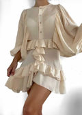Oversized Puffed Long Sleeve Front Button Down Frilled Mini Dress Beige