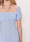 Square Neck Puff Sleeved Floral Print Frilled Hem Mini Dress Blue