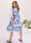 Oversized Puff Sleeved Illustrated Patterned Smock Midi Dress Blue
