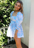 Oversized Square Neckline Puff Sleeved Mini Smock Dress Tie Dye Blue