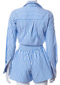 Oversized Striped Collared Shirt And High Waist Shorts Co Ord Set Blue