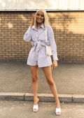 Pin Stripe Twisted Crop Shirt And High Waist Shorts Co Ord Set Blue