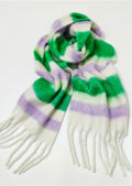 Oversized Striped Wide Length Tassel End Scarf Multi