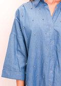 Oversized Stud Denim Shirt Blue