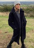 Oversized Teddy Borg Collared Longline Coat Black