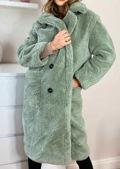 Oversized Teddy Borg Collared Longline Coat Green