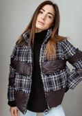 Oversized Tweed Frayed Panelled Puffer Crop Coat Black