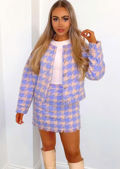 Oversized Tweed Houndstooth Crop Blazer Mini Skirt Co Ord Set Purple