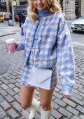 Oversized Tweed Houndstooth Crop Blazer Mini Skirt Co Ord Set Purple