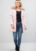 Padded Longline Hooded Puffer Coat Pink