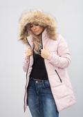 Padded Faux Fur Hooded Longline Puffer Coat Pink
