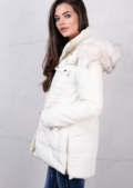 Padded Puffer Jacket Faux Fur Hooded Long Coat Cream White