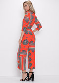 Paisley Print Plunge Jumpsuit Orange