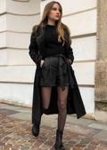 High Waisted Paperbag Pu Tie Waist Shorts Black