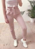 Paperbag Waist Belted Trousers Pink