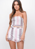 Pastel Stripe Crop Top Shorts Co Ord Pink