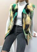 Patchwork Soft Faux Fur Longline Gilet Multi