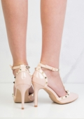 Patent Studded T-Bar Strappy Court Heels Pink