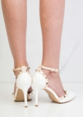 Patent Studded T-Bar Strappy Court Heels White
