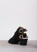 Peep Toe Buckled Western Mule Ankle BootsBlack