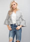 Peplum Frill Blazer Jacket Grey