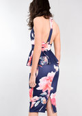 Peplum Frill Floral Bodycon Midi Dress Navy Blue