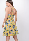 Pineapple Print Halterneck Skater Dress Yellow