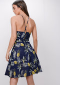 Pineapple Print Halterneck Skater Dress Blue