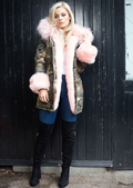 Pink Faux Fur Hooded With Cuffs Full Fleece Parka Camo Khaki Green