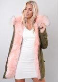 Pink Faux Fur Hooded Parka Coat khaki Green