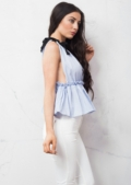 Pinstripe Ruffle Tie Up Crop Top Sky Blue