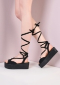 Platform Lace Up Wedge Flat Espadrille Sandals Suede Black