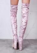 Platform Peep Toe Block Heel Crushed VelvetOver The Knee Boots Pink