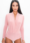 Pleated Long Sleeve Plunge Bodysuit Pink