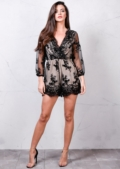 Plunge V neck Wrap Over Sequin Detail Playsuit Beige Black