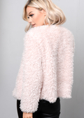 Plush Faux Fur Cropped Jacket Pink